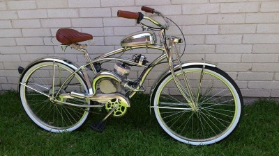 Custom Built Chrome Flyer Motorized Bicycle