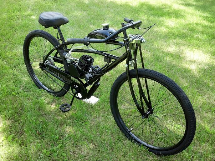 Black cruiser w springer forks custom motorized for Custom motorized bicycles parts